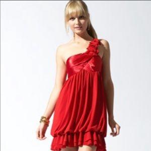 Jessica McClintock Red Satin Top Bubble Dress 12